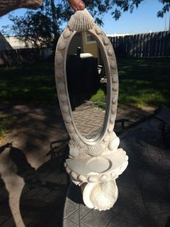 Shell mirror/candle holder