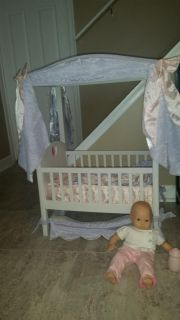 American girl bitty baby and crib with removable canopy