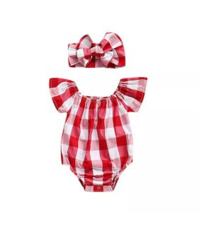 NWT Red and White Plaid Romper with Headband, Size 90 (12-18M)