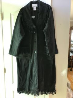 Ladies Med. Black Fringed Button Coat. New