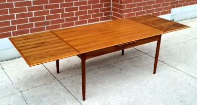 Danish Modern Teak Self Storing Leaf Dining Table