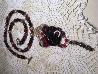 Necklace Custom Steampunk Modern Style Scorpio Horoscope Sign Vintage Pieces Black and Red Custom