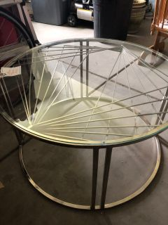 Chrome and glass circular coffee table