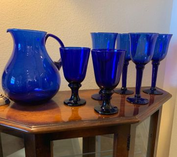 Gorgeous Cobalt Blue Glass Pitcher and Beverage Glasses