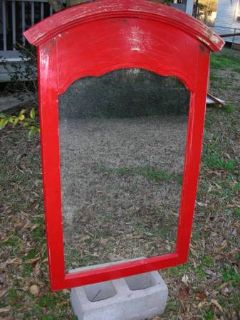 Red Distressed Dresser top Wood Framed Mirror