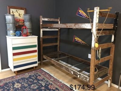 US Army bunk beds vintage camp bunk house cabin lake
