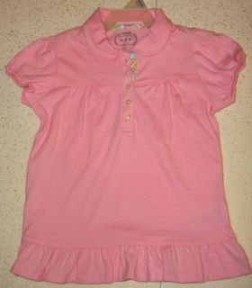 New Pink Top Rounded Collar Partial Button Front Puff Gathered Short Sleeves Ruffled Bottom Finish by Riders $4 4T