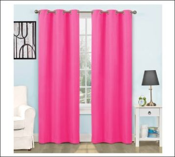 "NEW Eclipse Hot Pink Girl Lined Grommet Energy 42""x63"" Curtain Panel Drape Window"