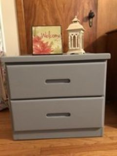 2 drawer side table/ dresser comes with decor included