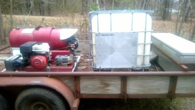 comercial pressure washing unit w,trailer