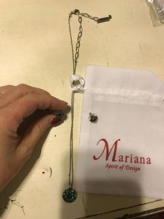 Mariana guardian angel necklace and earrings