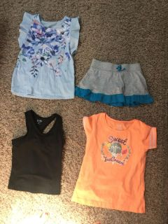 Champion sports tank, Justice flower shirt, and a cute skirt and bright orange top. Size 7