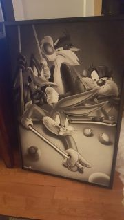 Vintage 1995 Looney Tunes Pool Table Neon sign