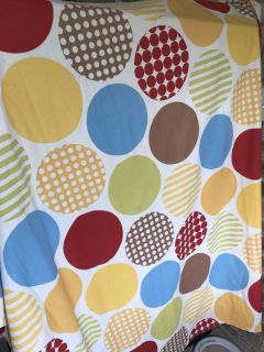 Polka dot shower curtain and tissue box cover