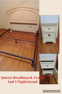 Queen Headboard, Frame & Nightstand