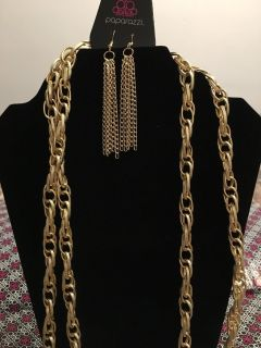 Scarred for attention gold blockbuster earrings and necklace
