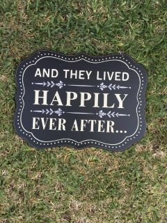 Happily Ever After chalkboard style sign