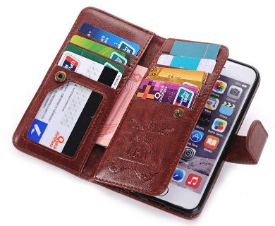 Brown Leather Wallet With Brown Leather Iphone 8 plus Case And Black Charging Pad