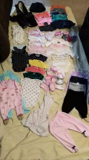 Baby Girl clothes 0-3 months 58 pc bundle