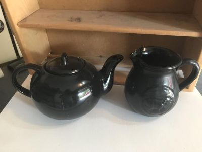 Black teapot and pitcher. $3 each