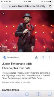 Justin Timberlake concert tickets for tomorrow