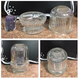 """""""HOME INTERIORS"""" VINTAGE 3 PIECE PRINCESS LIGHT - BEAUTIFUL WHEN CANDLE BURNING - 6.5"""" Tall - 4.5"""" WIDE - GLASS NO CHIPS/ CRACKS"""