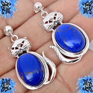 New - Natural Blue Lapis Cat 925 Sterling Silver Earrings