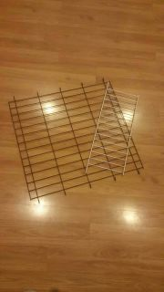 Two cage inserts, dog cage divider size 22 x 22, other is shelf type to hold bowls in small animal cage