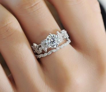 Sterling Silver White Sapphire Engagement Ring Set