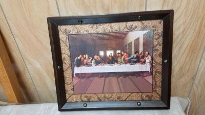 "Beautiful ""LAST SUPPER"" 2 Dimensional Custom Framed Picture! Custom hard plastic frame measures ..."