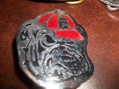 2 GA BULLDOG BELT BUCKLES US ARMY BUCKLE AND FLOWERY BUCKLE