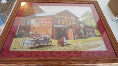 Framed Antique Barn With Coca Cola Sign Picture