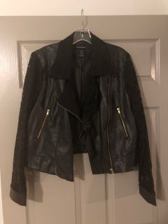 Ashley Stewart Faux Leather Jacket with Lace 14/16
