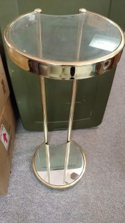Brass look & glass accent table