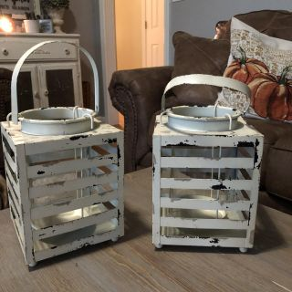 2 Beautiful distressed metal lanterns