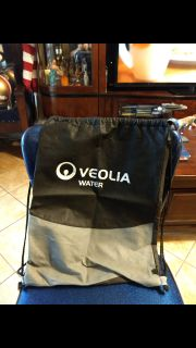 "Gently used condition, Veolia water, drawstring bag/backpack. 17"" x 13"" Asking $1.00"