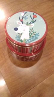 Two tins for Christmas cookies, 8 in diameter 3.5 inches deep. Great for cookie presents