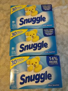 3 boxes snuggle blue sparkle fabric sheets 80ct