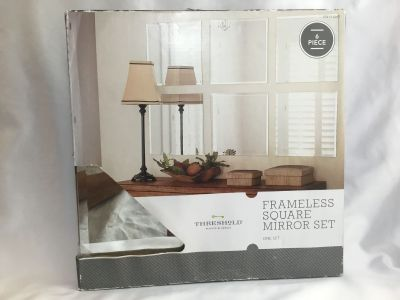 Beveled Frameless Square Mirror set 6 pieces 12 x12 in