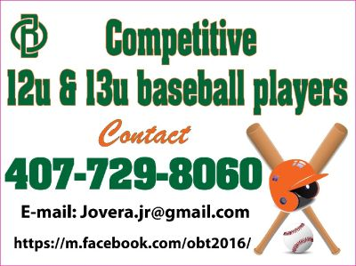 Baseball Tryouts July 29th, 2017