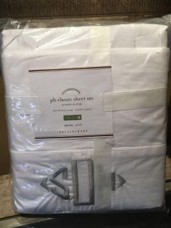 Brand New Pottery Barn White Queen Bed Sheet Set!