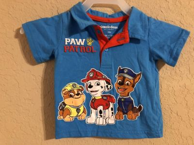 Nickelodeon Paw Patrol Adorable Blue Short Sleeve Shirt. Nice Condition. Size 0-3 Months