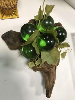 Fun vintage lucite grapes on driftwood