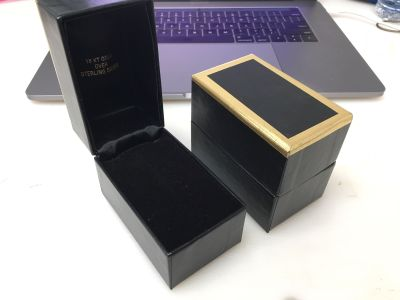 Jewelry boxes, for rings/bangles, 18k over sterling silver