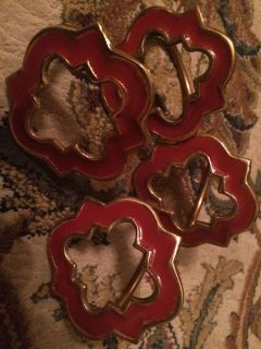 4 Crimson and Gold Napkin Rings