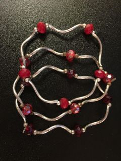 STRETCH BRACELETS (3) RED CLEAR IRIDESCENT/OPAQUE FACETED STONES