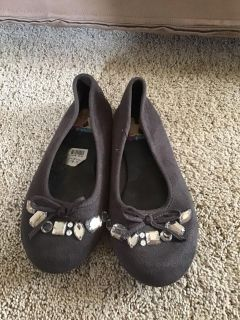 Liv and Maddie brown suede jeweled flats size 2.5, like new condition