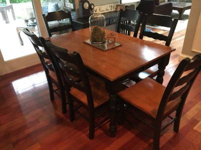 Kitchen set~Table, leaf, 6 chairs