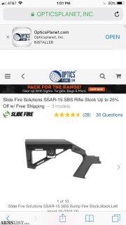 For Sale: Slide fire ssar-15 sbs bump stock