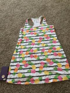 Cute pineapple striped sundress, swimsuit cover maybe? Size women s Small, medium, 6-10. In GUC $3.00